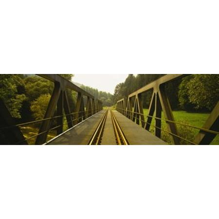 Railroad tracks passing through a bridge Germany Poster Print