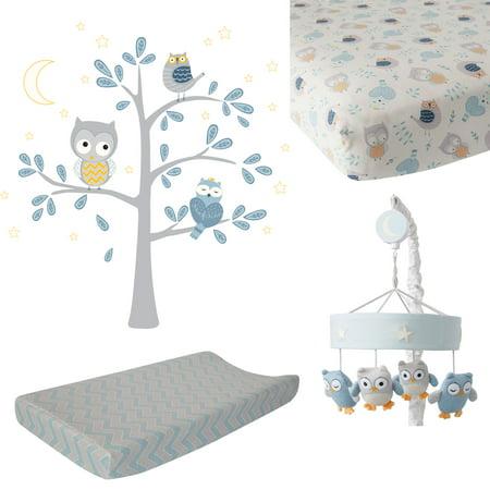 Lambs & Ivy Night Owl by Dena Blue/Gray 4-Piece Crib Bedding & Decor Set ()