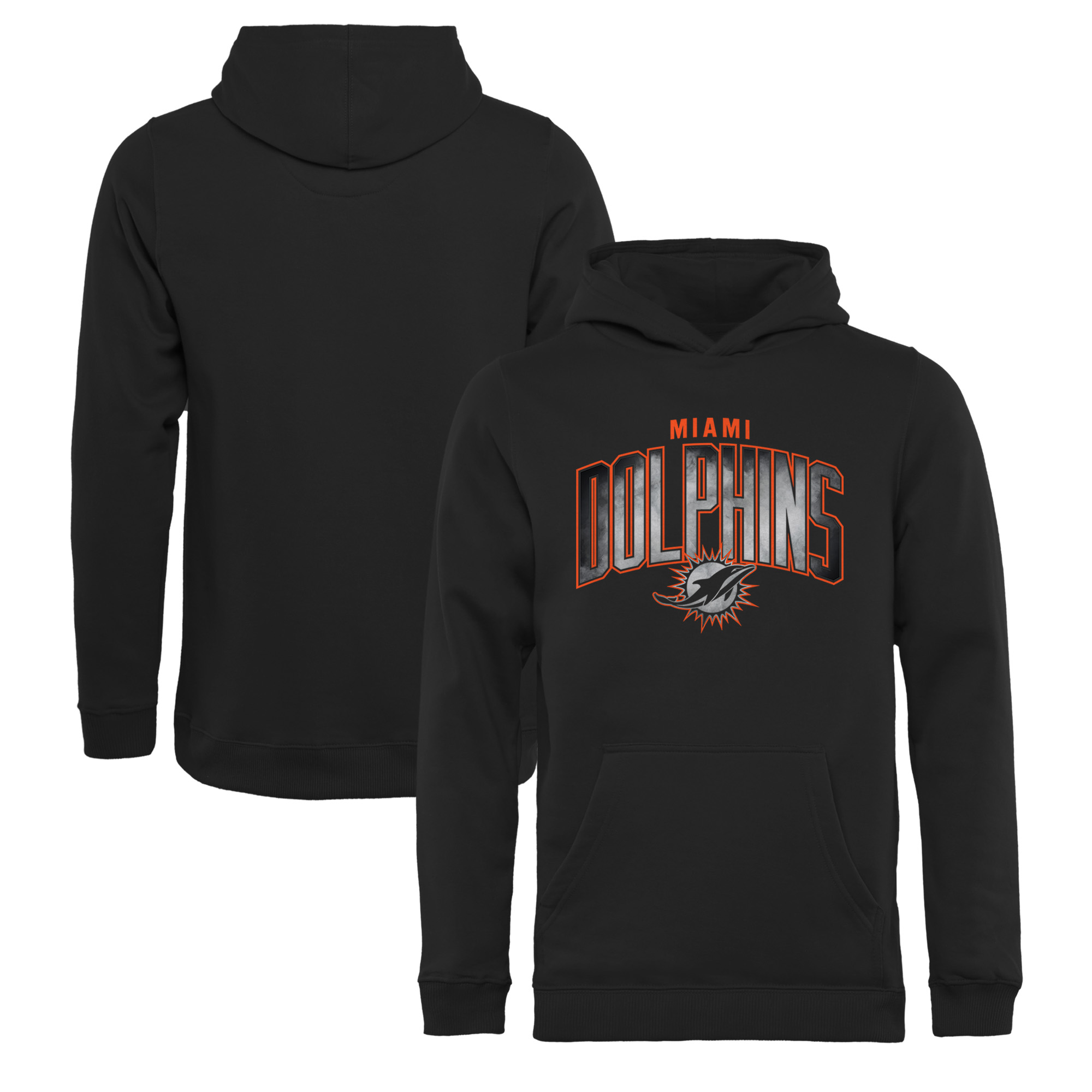 Miami Dolphins NFL Pro Line by Fanatics Branded Youth Arch Smoke Pullover Hoodie - Black