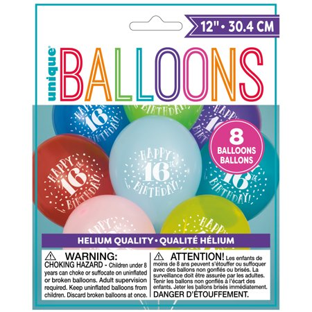 Latex Fun Happy 16th Birthday Balloons, Assorted, 12 in, - Happy 16th Birthday Balloons