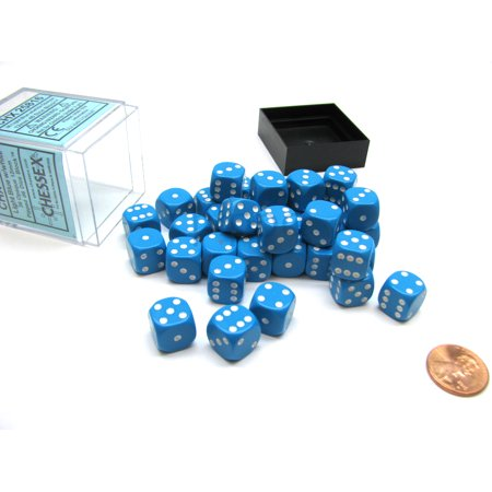 Opaque 12mm D6 Chessex Dice Block (36 Die) - Light Blue with White Pips 36 Opaque 12mm Dice Block
