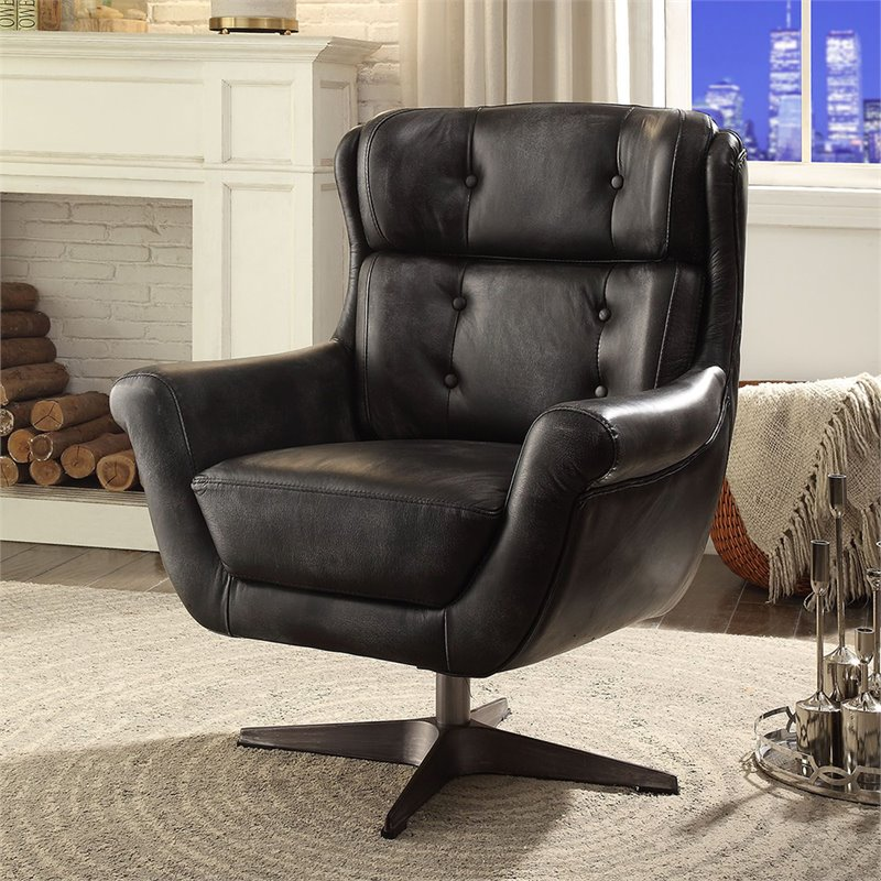 ACME Asotin Accent Chair in Vintage Black Top Grain Leather
