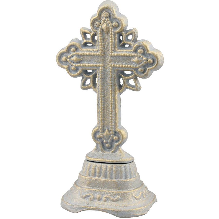 "6.25"" Patina Cast-Iron Ornate Cross"