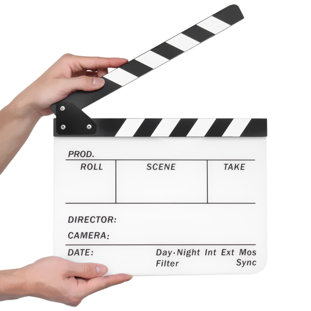 Director Clapboard Film Movie Clapper Board Acrylic Plastic Dry Lighting Products Metal Related Searchesclapper Switch Clap Light Erase Stadio Camera Tv Video Cut Action Scene Slate 10x12 With Black White Sticks