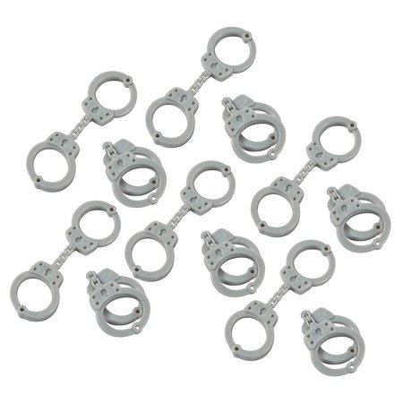 Rubber Handcuff - Rubber Mini Handcuffs 3.5 Inches - Pack Of 12 – Grey - For Kids Great Party Favors, Giveaways, Bag Stuffers, Fun, Toy, Gift, Prize, Piñata Fillers - By Kidsco