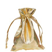 """BalsaCircle 10 pcs 4""""x 6"""" Lamé Metallic Favor Bags with Pull String - Wedding Party Candy Gift Baby Shower Jewelry Pouch"""