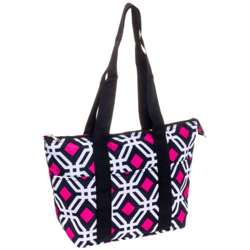 SILVERHOOKS Womens Black/White/Pink Geometric Nylon Insulated Lunch Tote Bag Box
