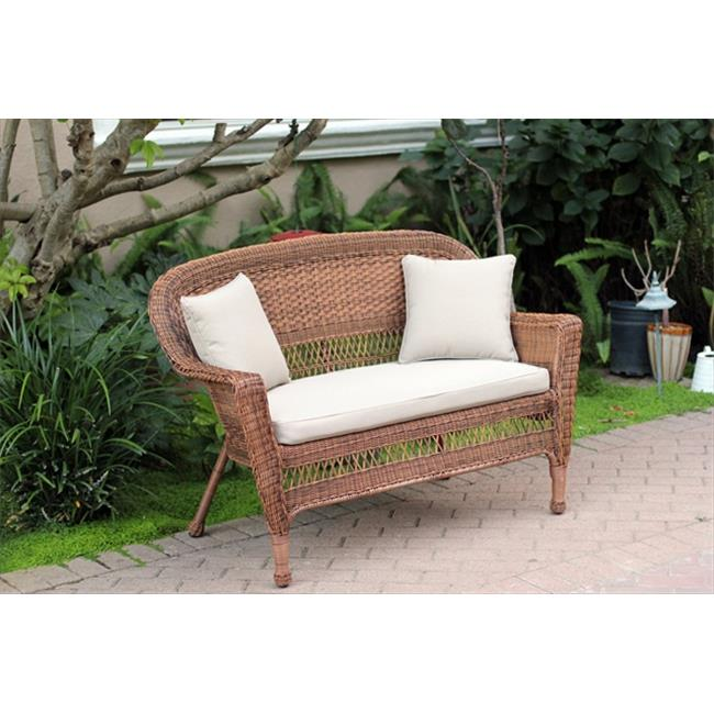 Jeco W00205-L-FS006-CL Honey Wicker Patio Love Seat With Tan Cushion And Pillows