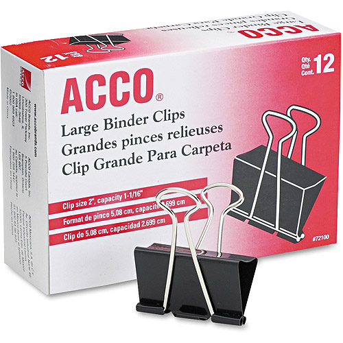 """ACCO Large Binder Clips, Steel Wire, 1 1/16"""" Capacity, 2""""w, Black/Silver, 12 Per Box"""