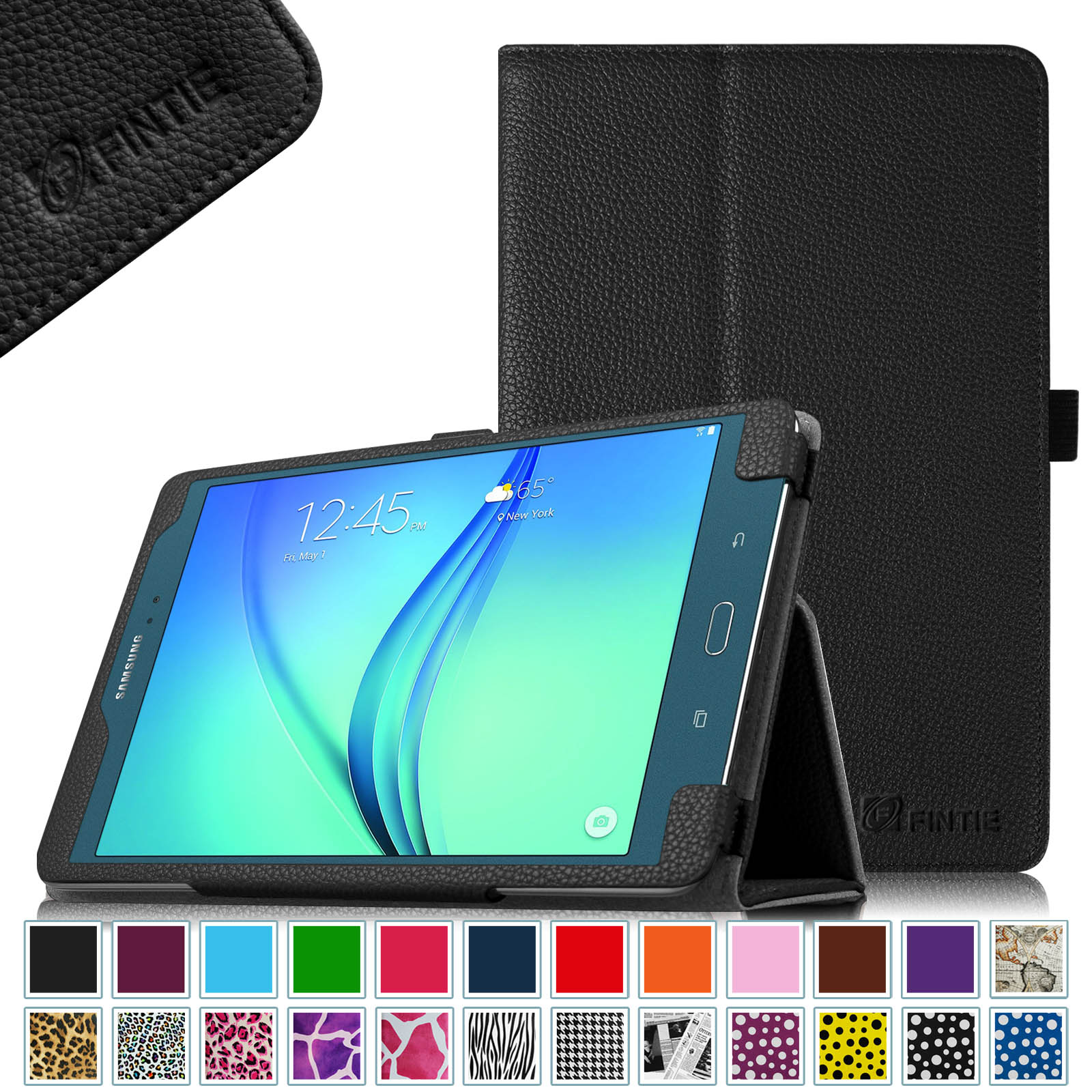 For Samsung Galaxy Tab A 8.0 Case SM-T350 2015 Model - Fintie Premium Vegan Leather Folio Cover Auto Sleep/Wake, Black