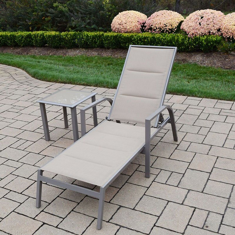 Oakland Living Padded Sling Aluminum 2 Piece Patio Chaise Lounge and Side Table Set by