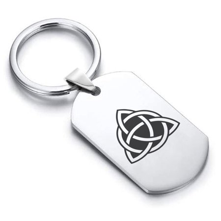 Stainless Steel Celtic Triquetra Trinity Knot Dog Tag Keychain Circle Ring