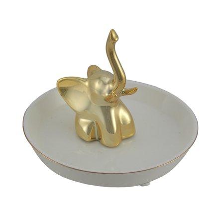 Gold Painted Elephant White Ceramic Jewelry Dish Ring Holder ()