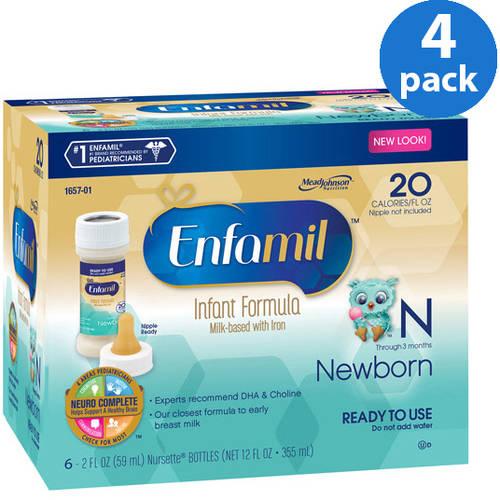 Enfamil Newborn baby formula - 2 fl oz Plastic Nursette Bottles - 6ct, Pack of 4