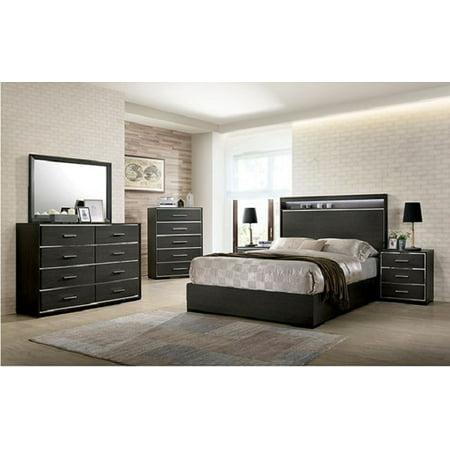 4pc East King Size Storage Platform Bed Wooden Bedroom Furniture Set Gray  Finish