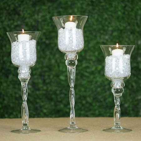 BalsaCircle Set of 3 Clear Hurricane Long Glass Candle Holders Wedding Event Centerpieces - Flowers Home Decorations Bulk - Bulk Candle Holders