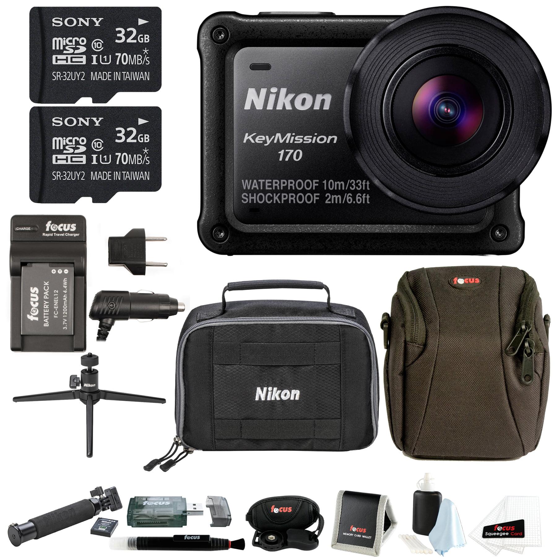 Nikon KeyMission 170 w/ Nikon Accessory Pack & 64GB SD Card Bundle