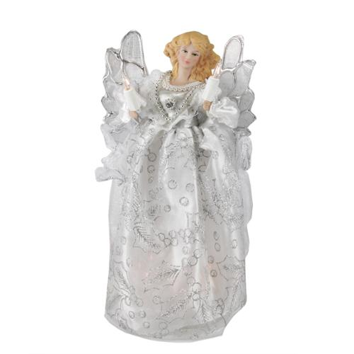 "10"" Lighted White and Silver Elegant Angel Christmas Tree Topper - Clear Lights"
