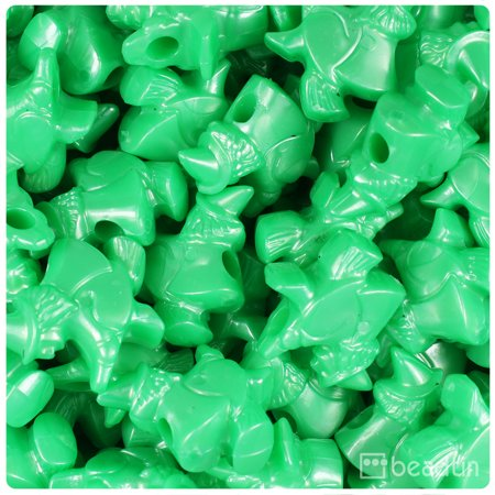 BeadTin Bright Green Pearl 24mm Halloween Witches Pony Beads (24pcs)