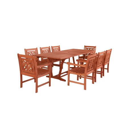9-Piece Brown Natural Wood Finish Extendable Table Outdoor Furniture Patio Dining Set with Plaid Chairs 91