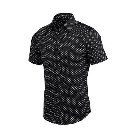 Men Short Sleeves Button Up Cotton Polka Dots Shirt Black S - image 1 de 7