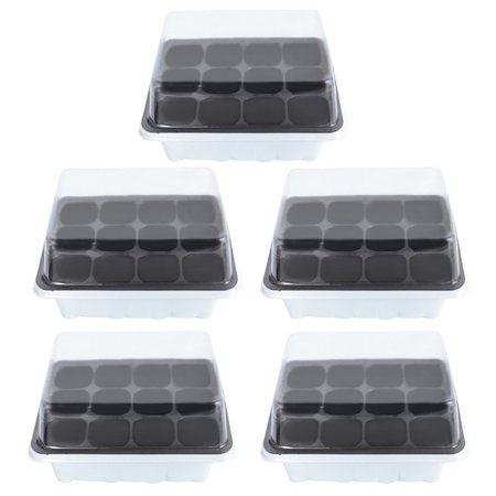 Box Crystal Tray - 5 Set 12 Cells Seedling Starter Tray Seed Planting Tray Kit Plant Germination Box with Lid - White