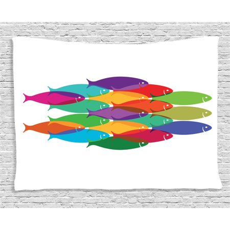 - Ocean Animal Decor Tapestry, Digital Nested Fish Shoal Cluster Icon Deep Teamwork Symbol Artisan Print, Wall Hanging for Bedroom Living Room Dorm Decor, 80W X 60L Inches, Multi, by Ambesonne