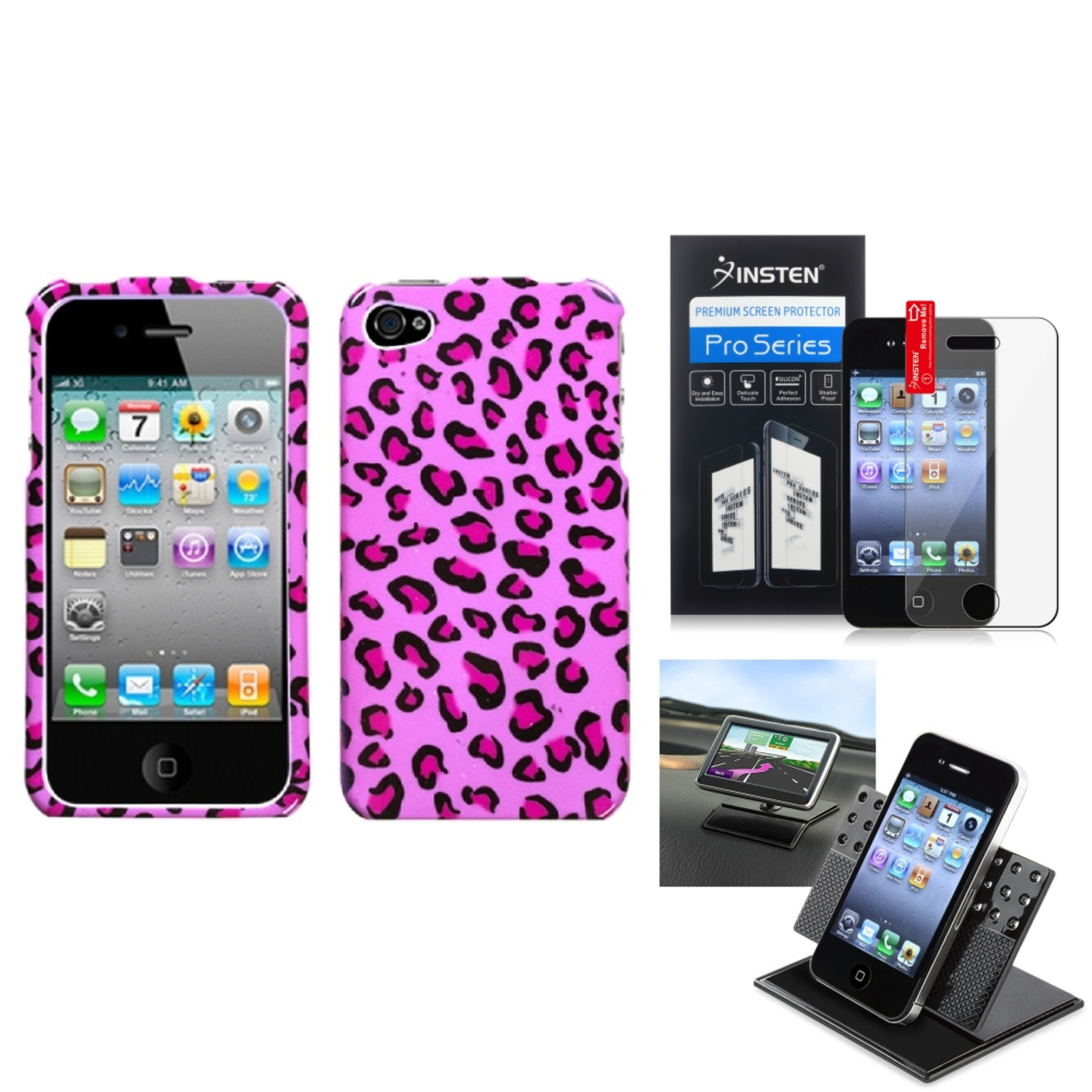 Insten Film Holder Pink Leopard Skin Phone Case Cover For APPLE iPhone 4S/4