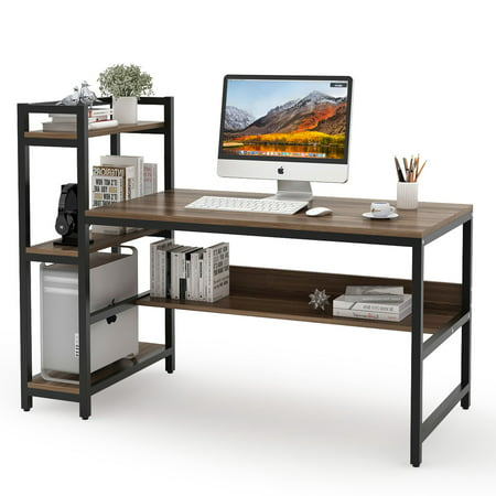 Outstanding Tribesigns Computer Desk With 4 Tier Storage Shelves 59 Modern Office Desk Computer Table Studying Writing Desk Workstation With Bookshelf And Tower Beutiful Home Inspiration Ommitmahrainfo