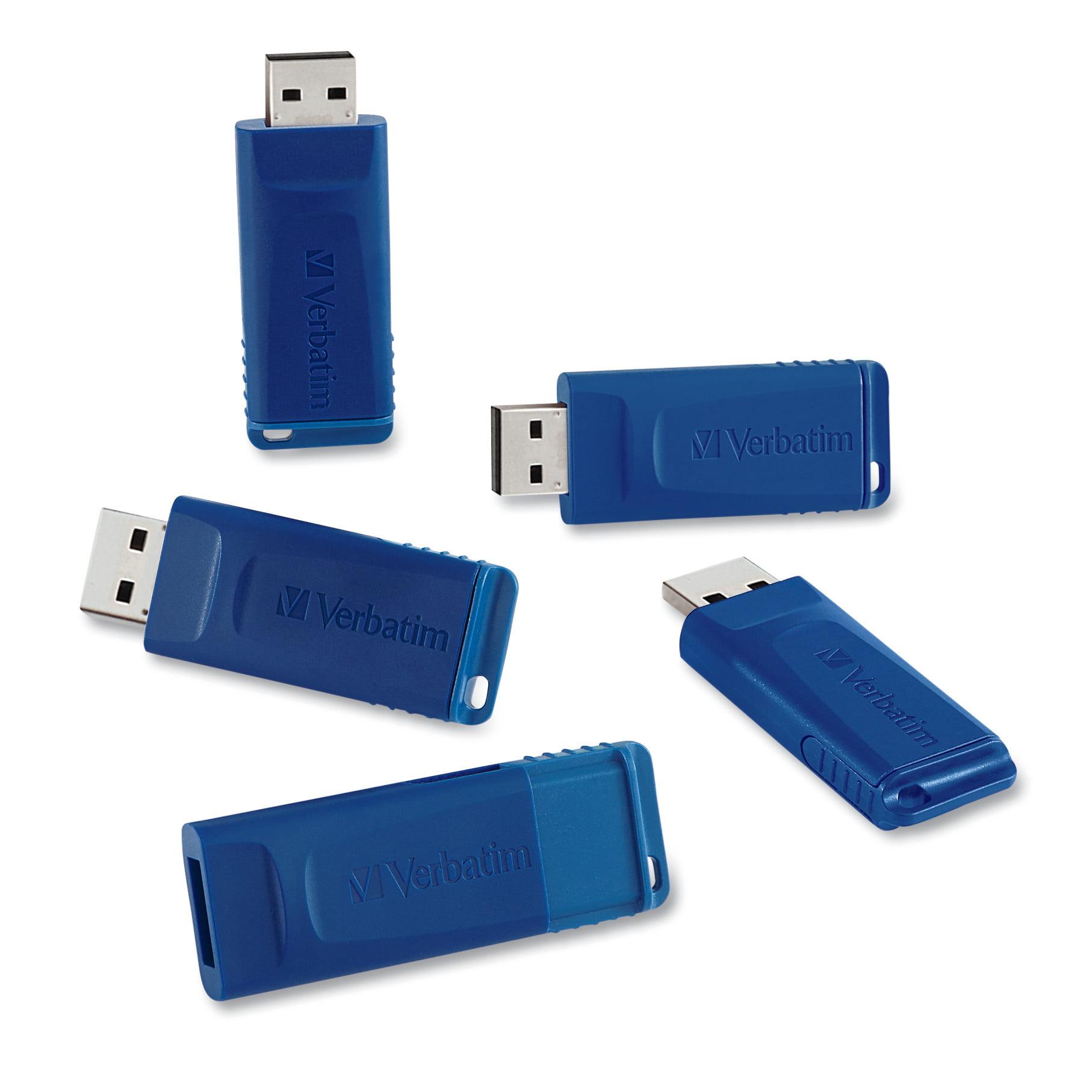 Verbatim Classic USB 2.0 Flash Drive, 8 GB, Blue, 5/PK -VER99810