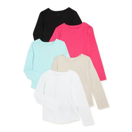 Wonder Nation Girls Long Sleeve Kid Tough T-Shirt, 5-Pack, Sizes 4-18 & Plus