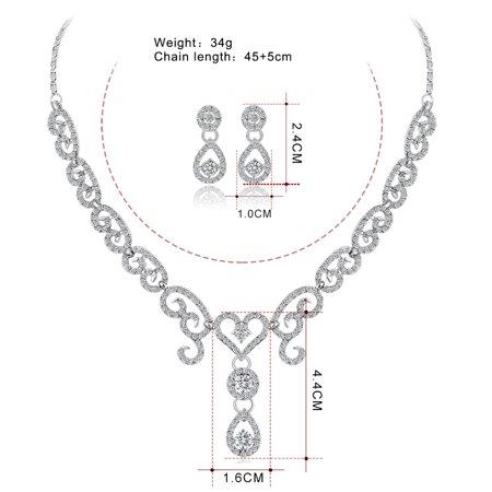 Women Girls Jewelry Set Fashion Heart Sharp Pendant Rhinestone Necklace + Earrings Valentine's Day Gift - image 3 of 8