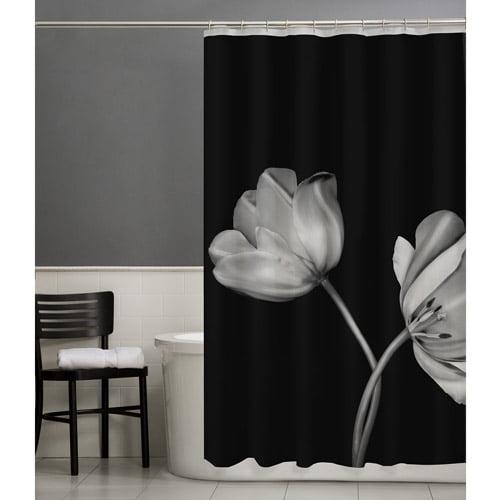Maytex Tulip PEVA Vinyl Shower Curtain, Black