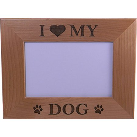 I Love My Dog 4x6 Inch Wood Picture Frame Great Gift For