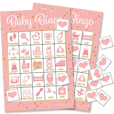 Pink and Gold It's a Girl Baby Shower Bingo, 24 Game Cards (Baby Shower Decorations For Girl)