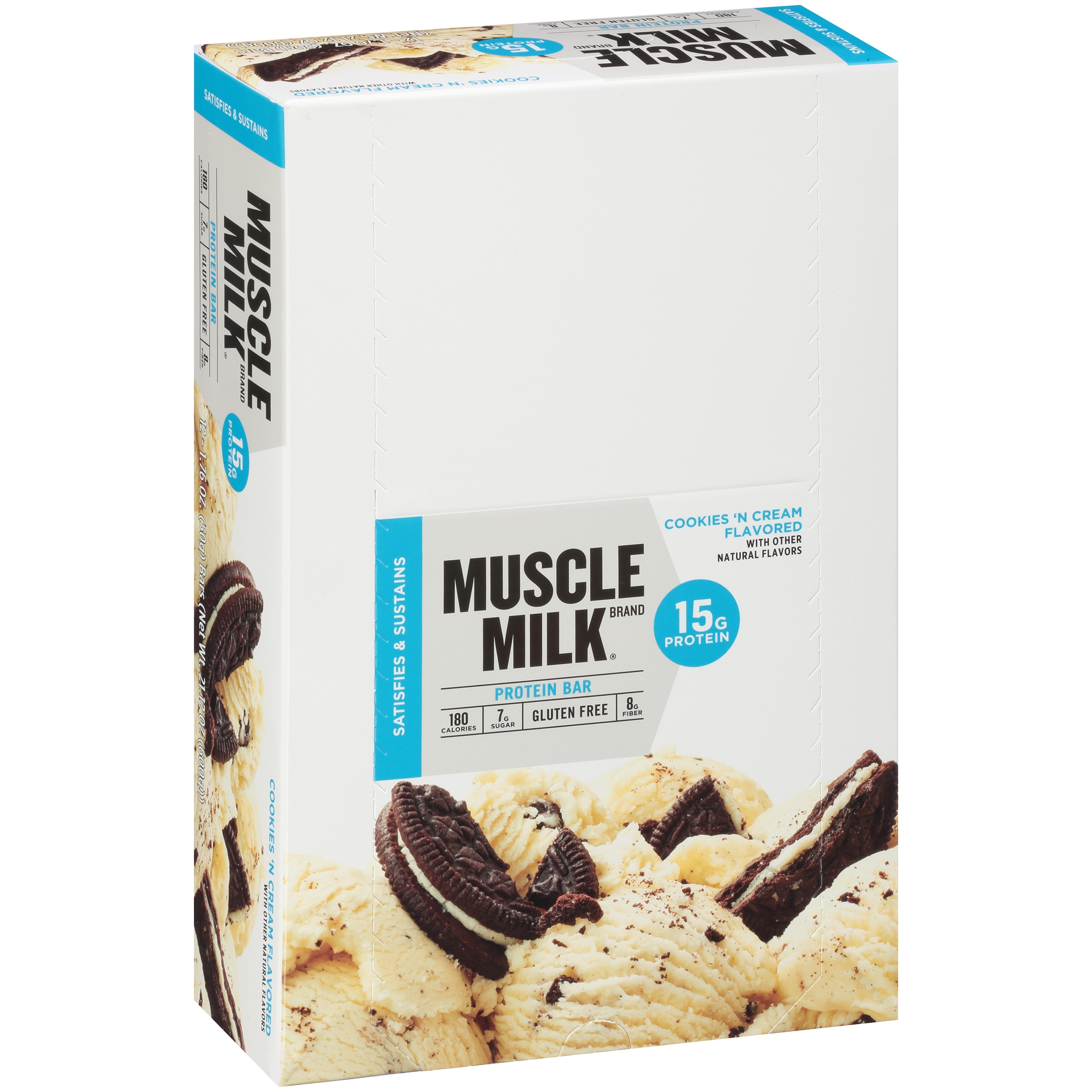 muscle milk protein bar, cookies 'n cream, 15g protein, 12 ct