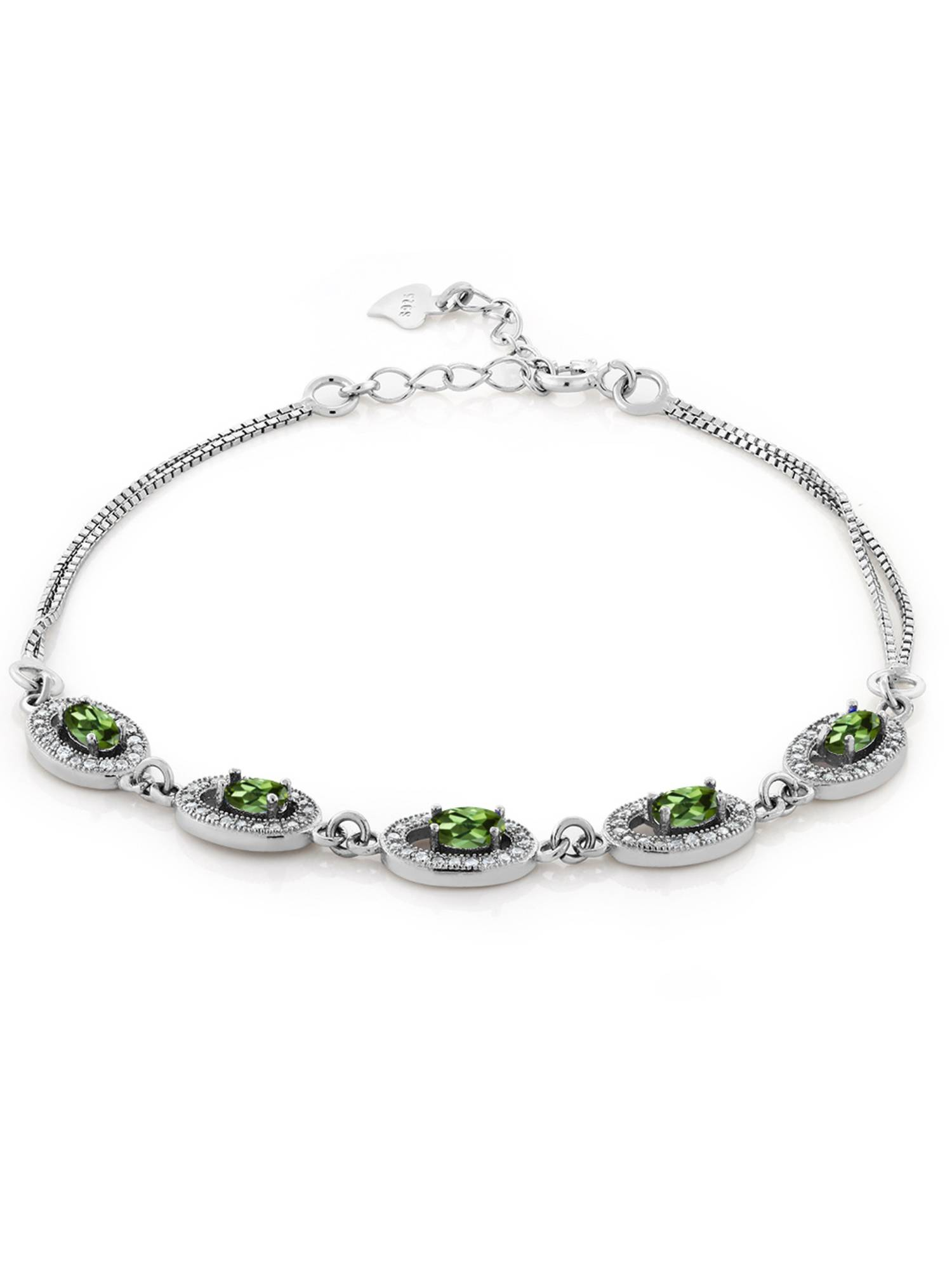 0.48 Ct Oval Green Tourmaline 925 Sterling Silver Bracelet by