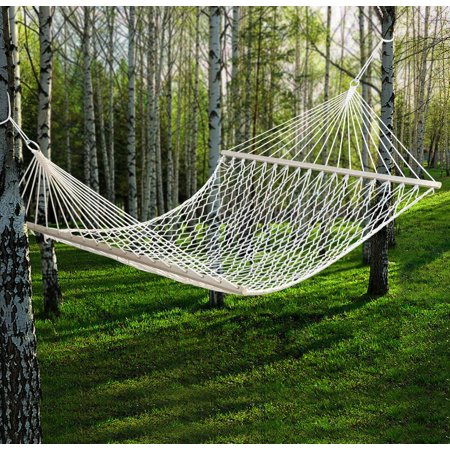 Yaheetech 59 outdoor swing hanging camping double cotton for Rope hammock plans