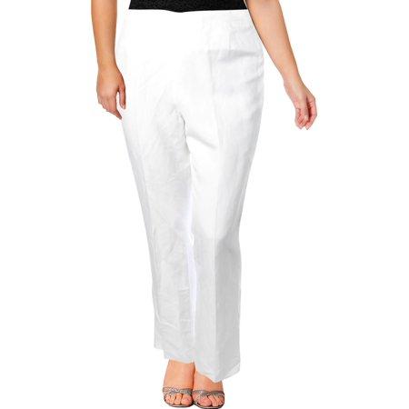 Petite Washed Linen - Kasper Womens Petites Audrey Linen Straight Leg Dress Pants