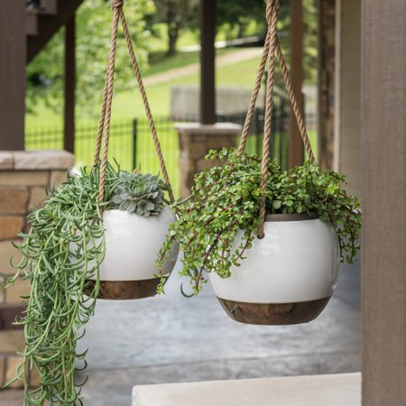 Belham Living Hayden Ceramic Outdoor Hanging Planter - Set of 2 ()