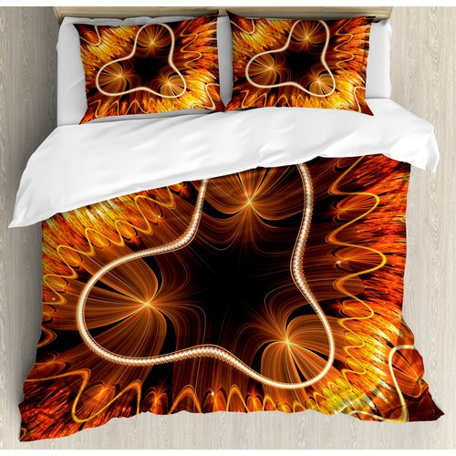 Ambesonne Fractal Abstract Electromagnetic Waves Textured Dynamic Effects Artful Graphic Image Duvet Cover Set