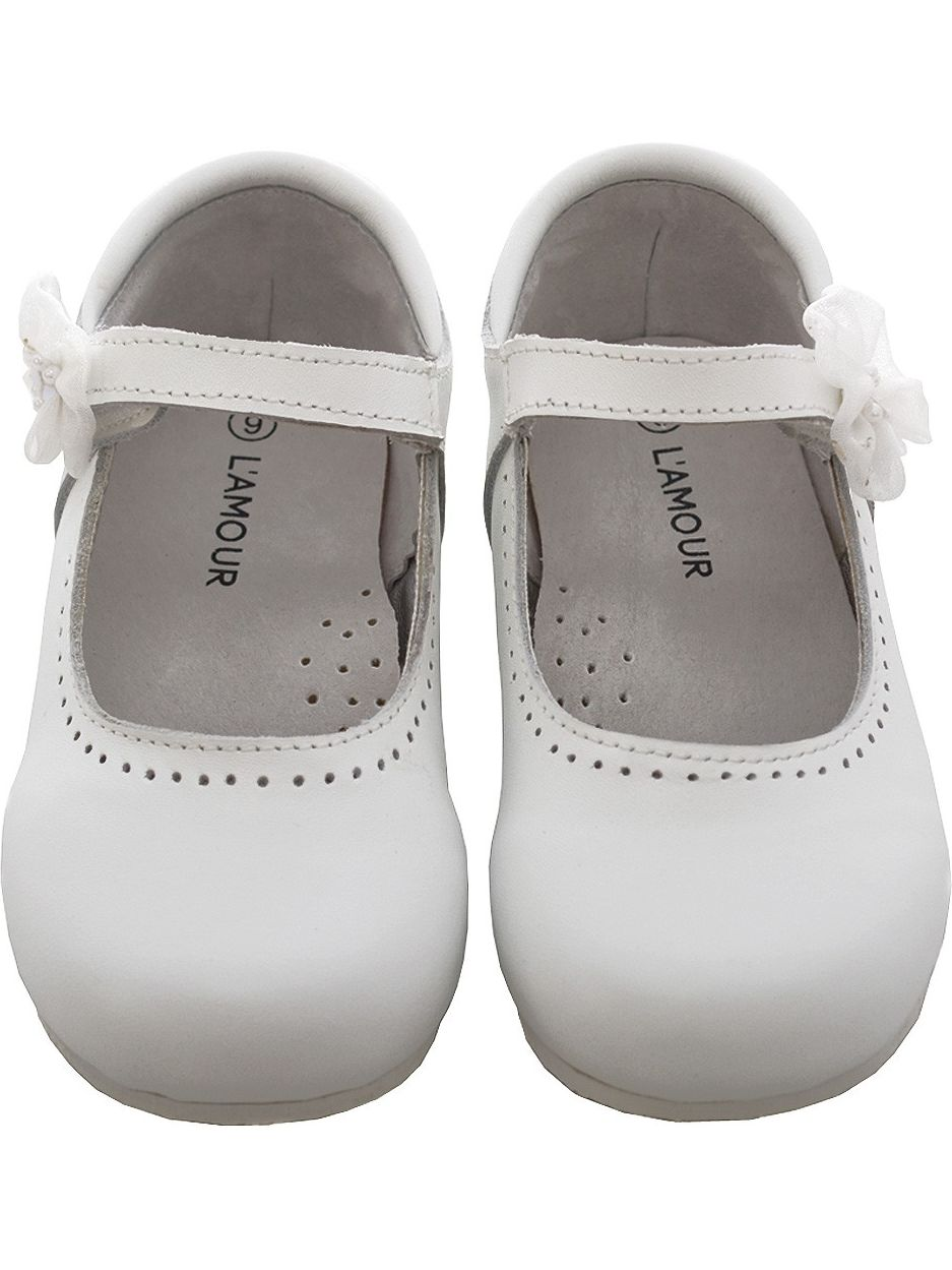 L'Amour White Leather Flower Mary Girl Jane Velcro Shoe Little Girl Mary 11-4 6a9287