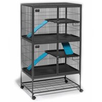 """Midwest Deluxe Ferret Nation Double Unit Ferret Cage (Model 182) Includes 2 leak-Proof Pans, 2 Shelves, 3 Ramps w/ Ramp Covers, Measures 36""""L x 25""""W x 62.5""""H Inches"""