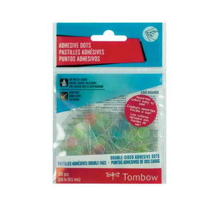 Tombow 52139 Adhesive Dots, Assorted Colors, 100-Pieces