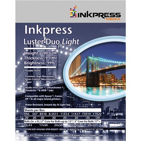 Inkpress Commercial Duo - Inkpress Luster Duo, Double Sided Inkjet Paper, 99% Bright, 280 gsm, 9.5 mil., 11x14