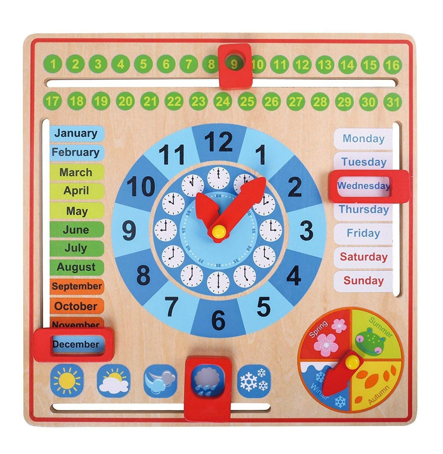 Pidoko Kids All About Today Calendar Board - My First Clock PreSchool Educational \u0026 Learning