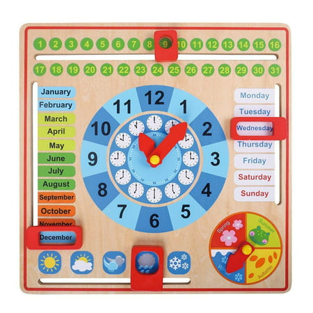 Pidoko Kids All About Today Calendar Board - My First Clock - PreSchool Educational & Learning Wooden Toy | Graduation Gifts For Toddlers Boys and Girls 3 Year Olds