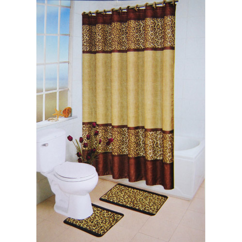 leopard piece bath set  walmart, walmart cheetah bathroom sets