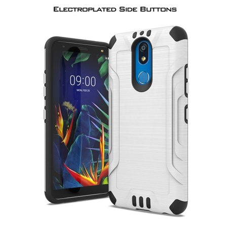 LG K40 Case, by Insten Metal Plate with Chrome Buttons Dual Layer Hybrid Brushed PC/TPU Rubber Case Cover For LG K40 - White
