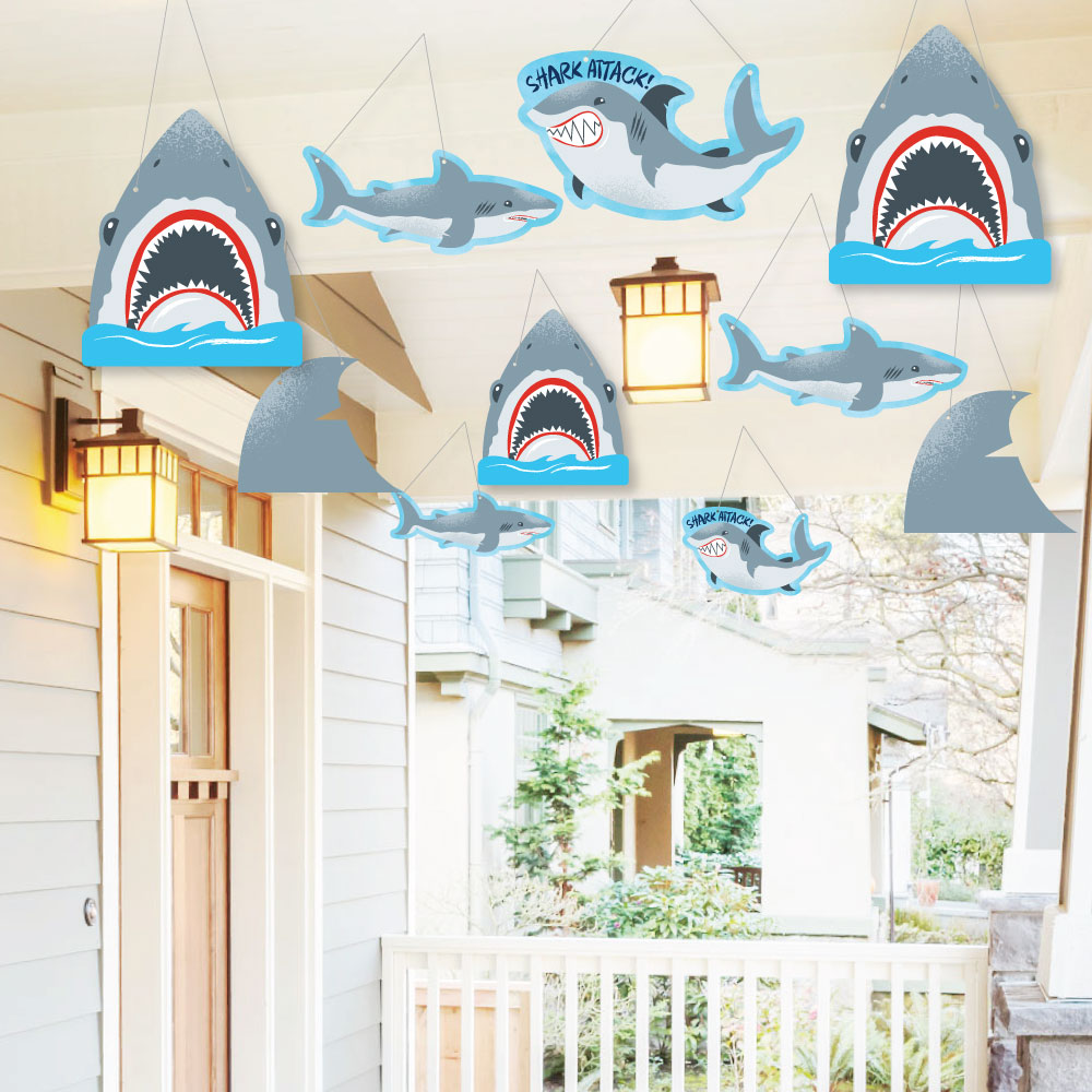 Hanging Shark Zone - Outdoor Jawsome Shark Party or Birthday Party Hanging Porch & Tree Yard Decorations -10 Ct